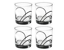 "4 Corelle SIMPLE LINES 9-oz GLASSES 3 1/2"" Rocks Glass *Sweeping BLACK ARCS New"