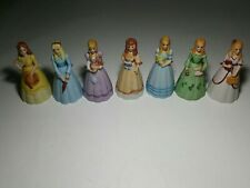 Vintage Lot of 7 - Victorian Girl/Woman/Lady Figures Ceramic Bell - Little Women