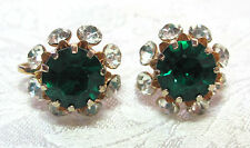 Vintage Large Sparkly Green & Clear Rhinestone Screw Back Earrings Signed Coro