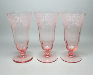 set of three pink etched glasses art nouveau - ish unknown maker (5859)