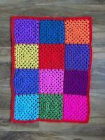 Small Bright Bold RED HandMade Crochet Oblong Baby Blanket Pram Cot Toddler