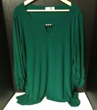 Cato Woman 2X (18-20W) 3/4 Sleeve Tunic With Pockets~Green