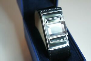 Genuine SWAROVSKI Stone Swan Black Patent Vegan Leather REMIX 1128124 RARE