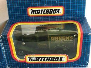Code 2 Matchbox MB38 Ford Model A Van GREEN'S SPONGE MIX FLAT MACAU BASE