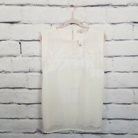 Ann Taylor LOFT Womens Size Medium Sleeveless Overlay Top Blouse Ivory Cream