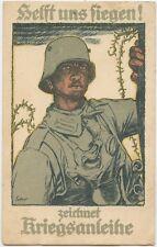 German WW1 Postcard Soldier Stormtrooper Gas Mask 'HELP US WIN'  1917 (471)