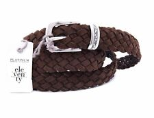 NWT ELEVENTY BELT brown suede leather braided luxury Italy eu 95 us 37