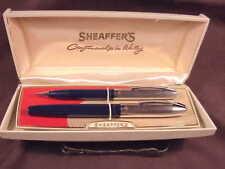 """Sheaffer 500 """"Dolphin"""" Pen/Pencil Set, In Blue, Cf, Steel Caps, Orig Hard Case"""