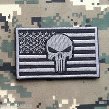 PUNISHER SKULL AMERICAN FLAG US ARMY TACTICAL MORALE GRAY SWAT OPS HOOK PATCH