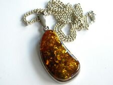 LARGE REAL AMBER stone pendant ~ silver 925 setting ~ chain necklace