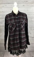NWT Women's Forever 21 Purple Plaid Lace Trimmed Shirt-Size S