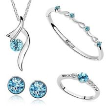 4 PIECE SILVER NECKLACE EARRING RING & BANGLE SET IN TURQUOISE **UK SELLER**