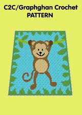 Cheeky Monkey Blanket/Afghan - C2C Graphghan Crochet Pattern