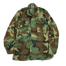 Mens US Army Field Jacket Cold Weather Coat Camouflage Camo Hood 80s M65 Vintage