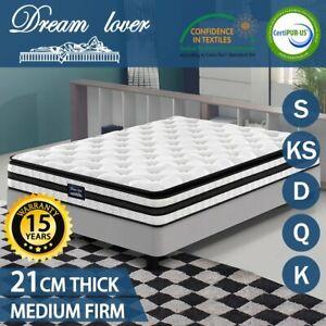 Mattress Queen Double King Single Bed Medium Firm Spring Foam Pillow Top