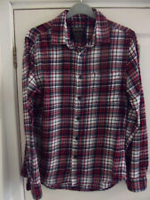 Men's brushed cotton checked burgandy shirt (40 inch chest)