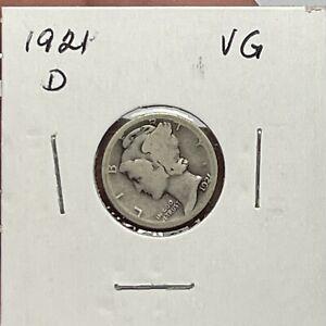 Rare Key Date 1921-D Mercury Dime Very Good