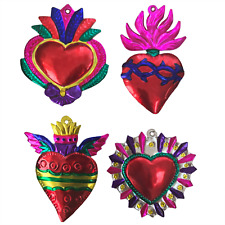 Milagros Charms -Large Tin Painted Sacred Heart Ornaments Mexican Art - set of 4