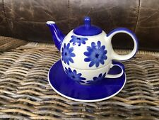 Whittard Of Chelsea Tea Clipper Tea For One Blue Flower Teapot And Cup