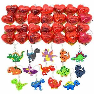 28 Packs Kids Valentines Party Favors Set includes 28 Dinosaur Keychains