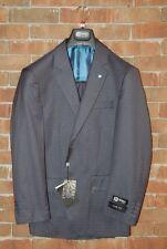 Brand New 40 L Slim Fit Henry Uomo Charcoal / Blue Plaid  2pc Mens Suit