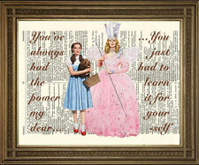 WIZARD OF OZ DOROTHY & GOOD WITCH GLINDA 'Power' Vintage Dictionary Art Print