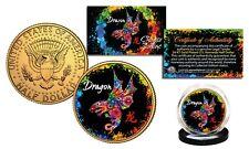 Chinese Zodiac PolyChrome Genuine JFK Half Dollar 24K Gold Gilded Coin - DRAGON