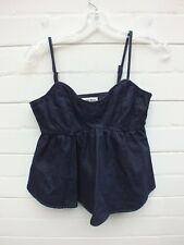 NEW COUNTRY ROAD BLUE DENIM JEAN CAMI TANK  TOP RUFFLE PEPLUM TUNIC SHIRT XXS