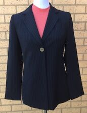Eight By Table Eight Petites Suit Blazer Jacket Black Pinstriped AU Made Size 8