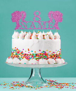 Girl head, Barbie inspired glitter cake topper Personalised Age, Birthday girl