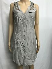 KATHERINE SIZE 8 KNOTTED TRIM YOKE  SLEEVELESS BAMBOO BLEND FABRIC DRESS