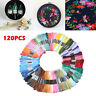 120Pcs Multi Colors Cross Stitch Cotton Embroidery Thread Floss Sewing Skeins