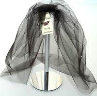 Black Bouffant Veil Crystal Wedding Any Length Short Sparkle Gothic LBV154 UK