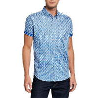 New ROBERT GRAHAM Mens Large Blue Ashmead Shirt Tailored Fit nwt