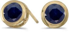 14k Yellow Gold Round Sapphire Bezel Stud Earrings (CM-E5039X-09)