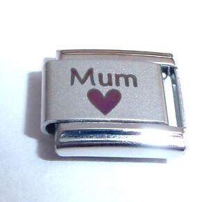 MUM + BLACK HEART Italian Charm fits Classic Starter Bracelets I Love My Mummy