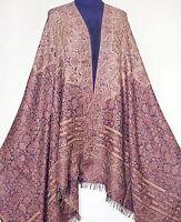 Large Jamawar Wool Paisley Shawl Dark Blue Jamavar Elegant & Affordable Pashmina