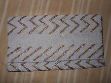 Borsa Pochette perline vetro bianche oro Vintage cm. 10x17 Hand Tasche Sac Han ^