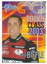 Greg Biffle 2003 Wheels American Thunder Rookie Class Card, # RC 2 of 11