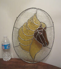vintage handmade stained glass horse colored wall window textured lead hanging