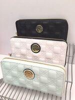 ANNE KLEIN Woman's Wallet *White~Black~*Quilt Trip SLGS *Zip-Around *New