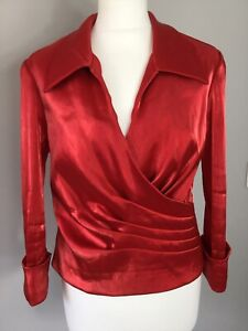 Cachet Red Slub Shanlung Wrap Effect Stretchy Top Blouse UK 14 Occasion Party