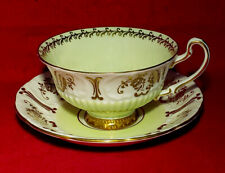 EB FOLEY PALE YELLOW WHITE & GOLD FLORAL CUP & SAUCER 3478 ENGLAND