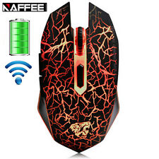 RICARICABILI naffee 2.4ghz Wireless 2400 DPI illuminato a LED USB PC Gaming Mouse