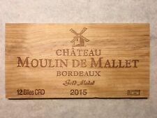 1 Rare Wine Wood Panel Château Moulin Mallet Vintage Crate Box Side 2/19 811