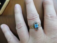 Antique Victorian Edwardian 10K Pink Gold Seed Pearl & Turquoise Ring size 8