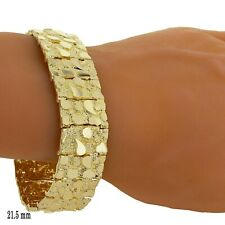 "Men's 14k Yellow Gold Solid Nugget Bracelet Link 7-7.5"" 21.5mm 55 grams"