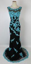 Tony Bowls Size 4 Mermaid Lace Black Turquoise $480 Long Gown Prom Formal NEW