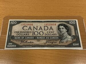$100 bill Canadian banknote 1954