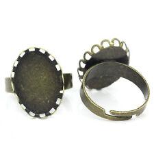 10 Supports de bague Réglable Plateau Ovale Bronze 20x19mm B27746